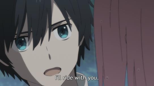 Darling in the FranXX Ichigo talking to Zero Two